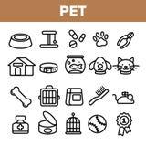 Ligne vecteur d'animal familier d'ensemble d'icône Les soins des animaux Symbole d'animal familier de toilettage Chien, Cat Veter illustration stock