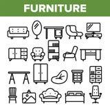 Ligne vecteur de meubles de pièce d'ensemble d'icône Conception intérieure de Cabinet Éléments de meubles de pièce à la maison We illustration libre de droits