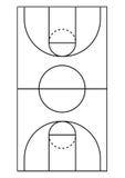 Ligne verticale vecteur de terrain de basket Photographie stock libre de droits
