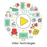 Ligne visuelle Art Thin Icons Set de technologies avec des éléments de cinéma Image stock