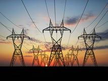 Lignes à haute tension électriques Image stock