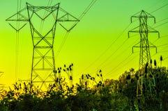 Lignes à haute tension au coucher du soleil Image stock