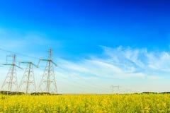 Lignes à haute tension de l'électricité dans le domaine de graine de colza Photo libre de droits