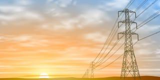 Lignes électriques électriques en ciel Photos stock
