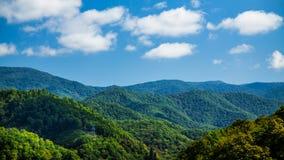 Lignes électriques en collines vertes en temps clair photos stock