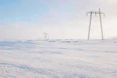 Lignes électriques en hiver Images stock