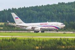 Lignes aériennes d'Il-96 Russie, aéroport Pulkovo, Russie St Petersburg 10 août 2017 Images libres de droits