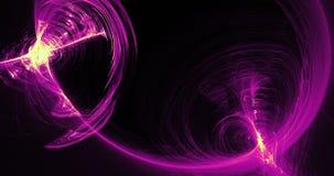 Lignes abstraites pourpres et jaunes fond de particules de courbes Photographie stock