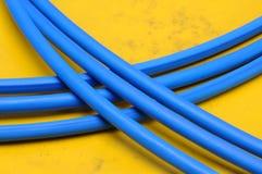 Lignes bleues de câble de réseau Photo libre de droits