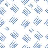 Lignes bleues tirées par la main de vecteur d'aquarelle sans couture Photo stock