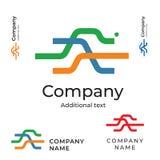 Lignes calibre réglé de concept de symbole d'icône de marque d'identité de Logo Abstract Bright Colorful Modern Image libre de droits