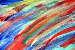 Lignes colorées courses d'aquarelle de brosse, fond abstrait Image libre de droits