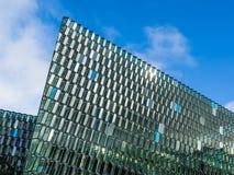 Lignes contemporaines et diagonales de Harpa en Islande Image libre de droits