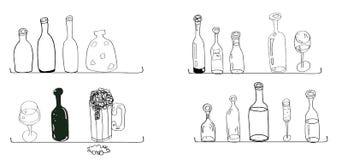 Lignes cuisine de bouteilles de griffonnages de courbes faisant cuire le style illustration stock