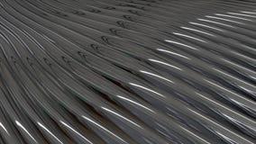 Lignes d'écoulement abstraites de métal animation Belles vagues de matériel brillant écartant et éclat se reflétant de lumière illustration de vecteur