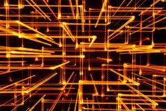 lignes 3D rougeoyantes jaunes abstraites comme fond Photos libres de droits
