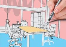 lignes de bureau de dessin de main Couleurs blanches Photographie stock