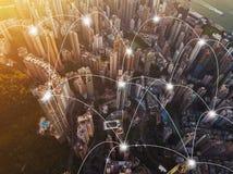Lignes de connexion réseau de Digital de Hong Kong Downtown Financia photographie stock libre de droits