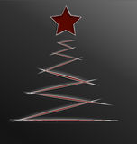 Lignes de coupe de papier d'arbre de Noël Photos stock