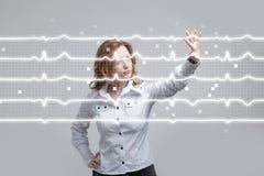 Lignes de femme et de cardiogramme de docteur Image stock