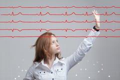Lignes de femme et de cardiogramme de docteur Photos libres de droits