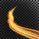 Lignes de feu d'or de vague magique de scintillement et étincelles rougeoyantes d'isolement sur le fond transparent Illustration  illustration libre de droits