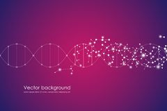 Lignes de fond abstrait de molécule, avec des points, médical génétique et composés chimiques, relié, technologique et Photos stock