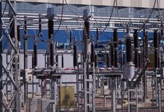 Lignes de haute énergie Photos libres de droits