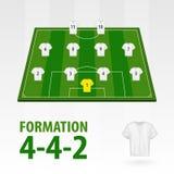 Lignes de joueurs de football, formation 4-4-2 Demi stade du football illustration stock