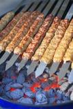 Lignes de kebab juteux de boeuf image stock