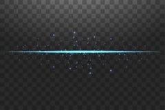 Lignes de lumi?res bleues abstraites sur l'illustration transparente de vecteur de fond Un ?clair lumineux de lumi?re sur la lign illustration de vecteur