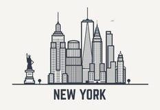 Lignes de noir de New York City Images libres de droits