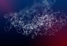 Lignes de plexus, points et faisceaux lumineux avec les points l?gers Fond abstrait de technologie, de science et d'ing?nierie La illustration stock