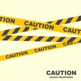 Lignes de pr?caution Rubans jaunes illustration stock