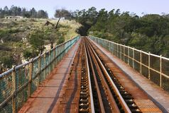 Lignes de train sur une passerelle Photo libre de droits