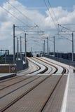 Lignes de tram d'Edimbourg chez Murrayfield Photos libres de droits