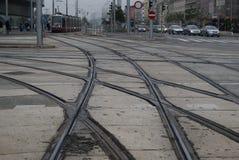 Lignes de tram dans la ville de Vienne Photographie stock libre de droits