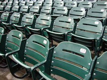 Lignes des sièges verts humides vides de stade Photographie stock libre de droits
