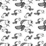 Lignes différentes tailles de noir de modèle de poisson rouge illustration libre de droits