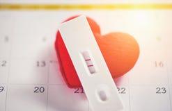 Lignes du résultat positif deux de concept de femme enceinte d'essais de grossesse prévoyant une maternité de bébé et des soins d images stock