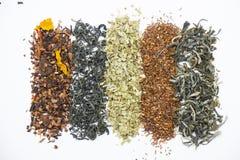 Lignes empilées de plan rapproché coloré de feuilles de thé photographie stock