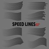 Lignes ensemble d'isolement de vitesse Lignes noires sur le fond gris illustration de vecteur