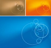 Lignes et cercles abstraits sur le fond de gradient Photo stock