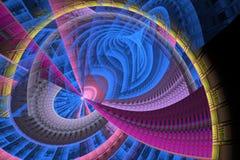 Lignes et courbes lumineuses abstraites de fractale sur le noir Photo stock