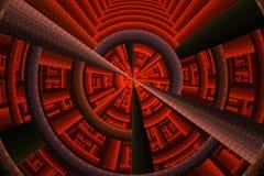 Lignes et courbes rouges lumineuses abstraites de fractale sur le noir Image stock