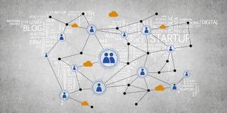 Lignes et points comme idée de mise en réseau dessinés sur le fond de ciment Images libres de droits