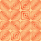 Lignes géométriques tirées par la main sans couture tuiles carrées arrondies rétro Tan Pattern orange sale de vecteur Photographie stock libre de droits