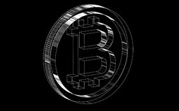 Lignes hachées transparentes noires et blanches d'icône de bitcoin de pièce de monnaie de crypto devise louée Illustration de vec Photographie stock libre de droits