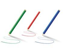 Lignes incurvées avec des crayons Images stock