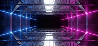 Lignes légères foncées rougeoyantes bleues menées au néon étrangères de rose vibrant de pourpre de laser de Sci fi dans le tunnel photo libre de droits